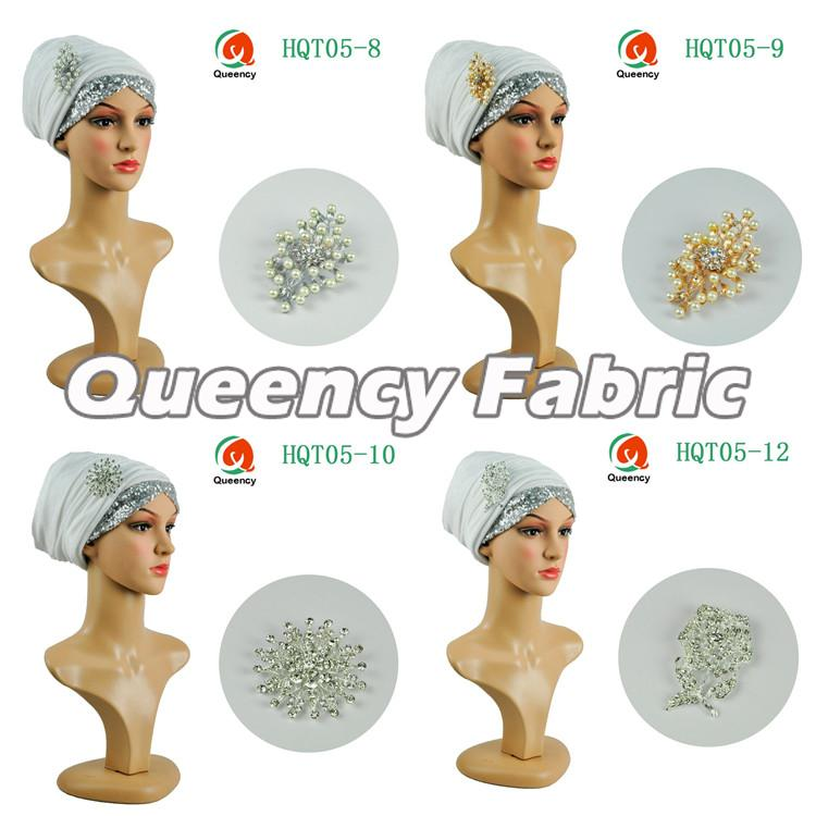 White Sequins Velvet Turbans