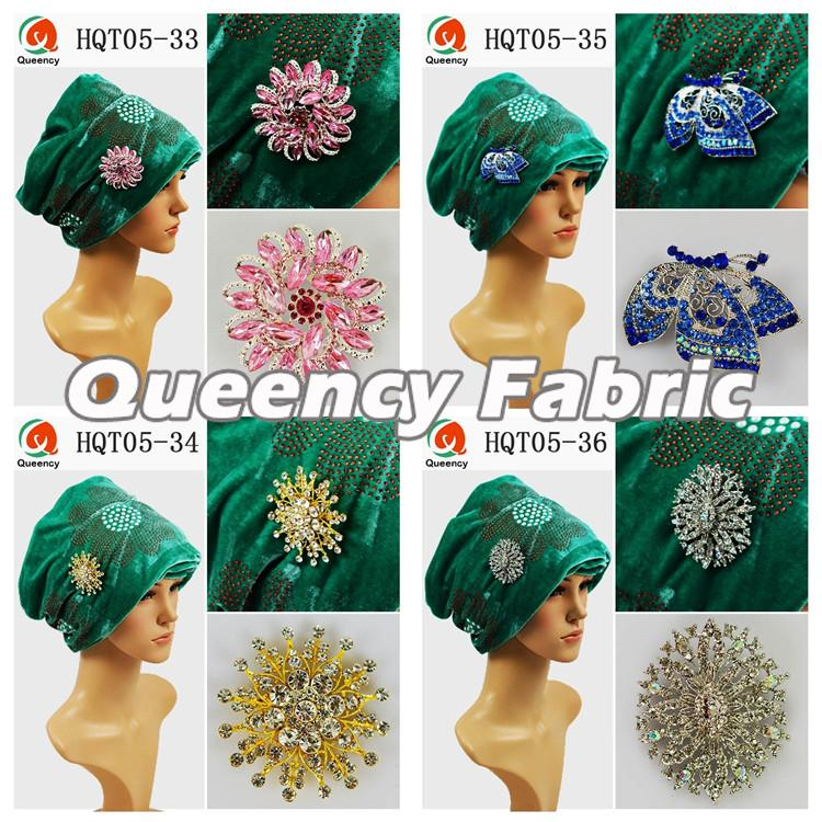 Stones Velvet Turbans In Green