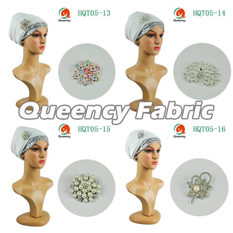 White Sequins Headtie Turbans Hat